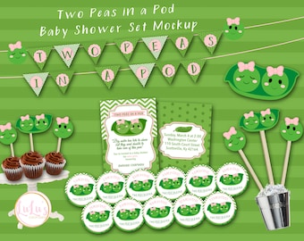 Two Peas in a Pod Baby Shower Pack - Twin Baby Shower Invitations - Twin Baby Shower - Twin Girls Baby Shower - Shower Invitations