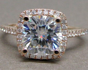 Cushion Cut Forever One Moissanite Diamond Engagement Ring 14k Rose Gold 8mm Halo Colorless