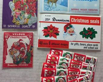 Lot of VINTAGE CHRISTMAS Tags Seals & Stickers Xmas Santa angels Holly Deer wildlife