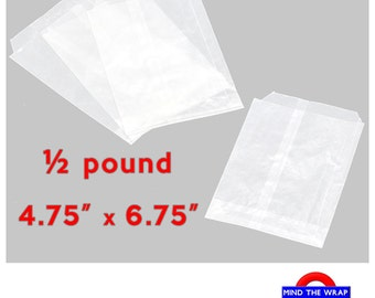 100 - Glassine Bags - 4.75 x 6.75 inches - Flat Translucent 1/2 Pound - for Food Cookies Candy Pastry Photos Favors