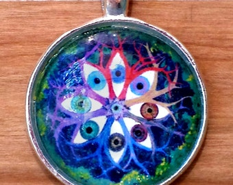 Insight Pendant, Eyes watching, pagan jewelry, world tree, forest, Heaven and Earth, divine knowledge, Mandala