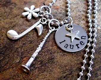 Clarinet Jewelry, Personalized Music Necklace, Clarinet Necklace, Musical Necklace, Hand Stamped Jewelry Custom Jewelry, Custom Gift
