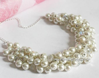 Ivory Pearl Cluster Necklace Ivory Necklace Bridesmaids Necklace Ivory Pearl Necklace Ivory Chunky Necklace Earrings Ivory Necklace Set