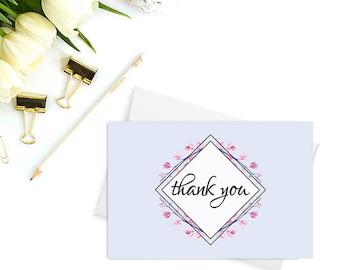 PRINTABLE thank you cards, Wedding thank you, DIY wedding, Baby shower thank you cards, Bridal shower thank you cards, Floral cards