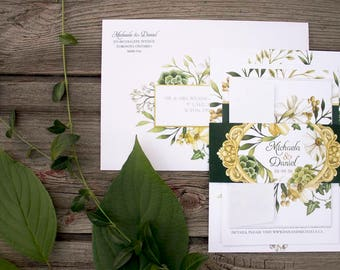 Enchanted Forest Botanical Garden Wedding Invitations & Stationery - SAMPLE - Botanical Wedding Stationery - Artwork by Alicia's Infinity