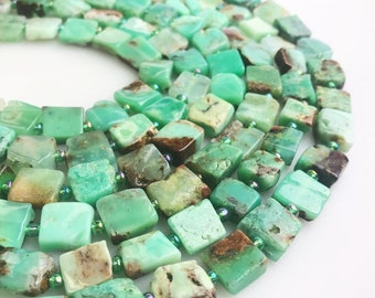 Natural Chrysoprase Size 10x10mm Cube Shape Beads Approximate 15 Inches per Strand for Jewelry Making.I-CHR-0396