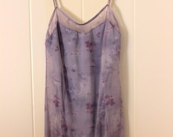 Adult Size Large Lavender Floral Dance Dress With Spaghetti Straps