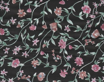 Cotton Fabric, Fabric Remnant, Black, Floral Pattern, Pink Flowers, Free Shipping