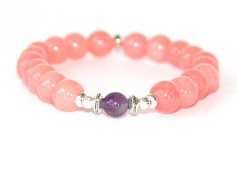 Mala Bracelet, Love and Peace - Pink Jade & Amethyst Gemstone Beads