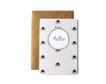Hello Embroidery Hoop Card