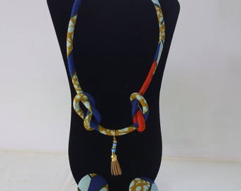 African Rope Necklace, Ankara Wax Fabric