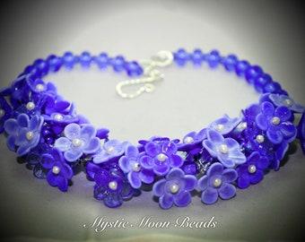 Artisan Handmade Lampwork Flower Blue Hydrangea Necklace, by MMB SRA # U5