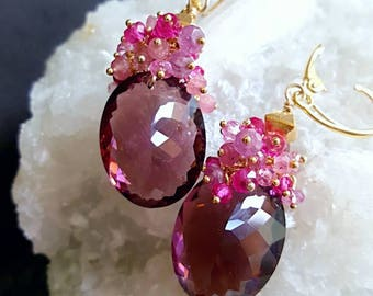 Plum Quartz Pink Tourmaline Gemstone Cluster Earrings on Gold Vermeil Leverback Ear Wires Gift for Her