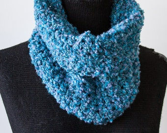 XS Blue Boucle Crochet Cowl Neck Infinity Scarf