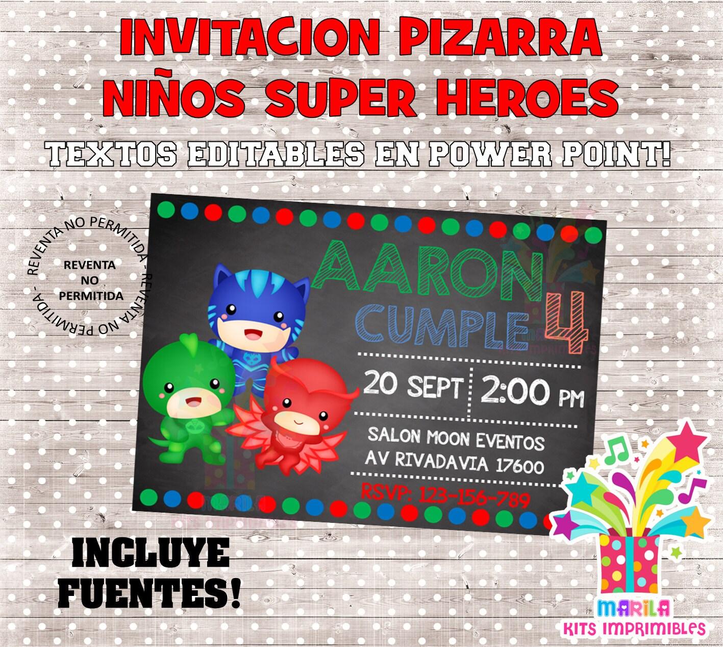 INVITACION PEQUEÑOS SUPERHEROES pizarra archivo editable