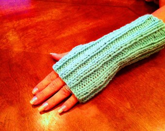 Knitted Fingerless Gloves/Mittens-Amazing Look to keep your hands warm in terrific colors-Aruba Sea