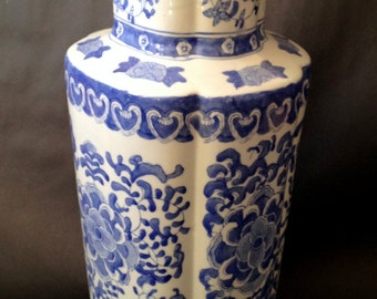 """18 1/2"""" Colorful Chinese Hand painted Blue and White PORCELAIN FLOOR VASE / Very  Striking / Decorative as well as Functional."""