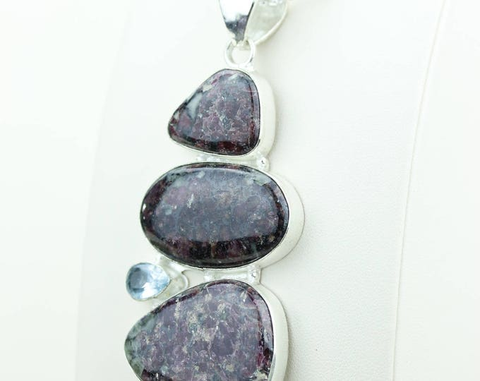 Eudialyte that increases and revitalizes one's personal power 925 S0LID Sterling Silver Pendant + 4MM Snake Chain & Worldwide Shipping p4007