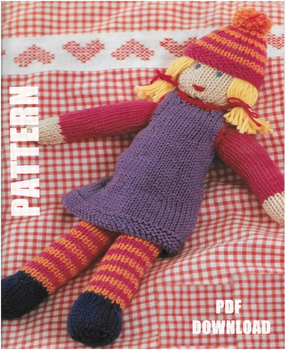Flash Sale Knitted Doll Knitting Pattern Rag Doll Pdf Instant