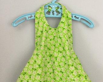 Vintage Handmade Green Floral Halter Top 12- 24 months