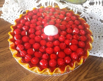 "9"" Cherry Pie Candle that looks and smells amazing!"