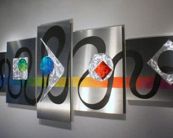 Wilmos Kovacs Original Art Metal Sculpture Abstract Art Decor Rainbow Painting W818
