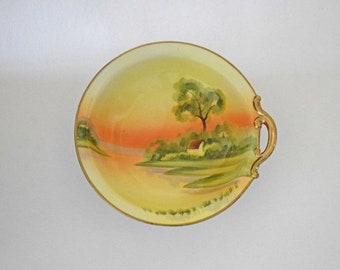 "Hand Painted Morimura Bros Nippon Bowl with Single Handle and Green Wreath Mark with ""M"" in the Center"