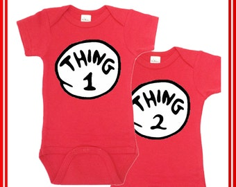 Thing1 Thing 2 Onesie, Thing 1 Thing Two, Twin Onesies, Funny Baby Clothes, Baby Shower Gift, Twin Outfits Baby boy Newborn Photos