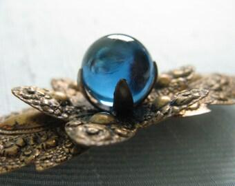 Vintage 1930s Brooch 30s Stamped Brass Leaf Brooch with Blue Glass Orb Center