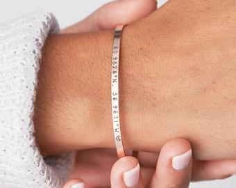 Custom Coordinates Bracelet, Personalized Coordinates Bracelet, Coordinates Cuff Bracelet, Custom Hand Stamped Bracelet, Gift for Mom