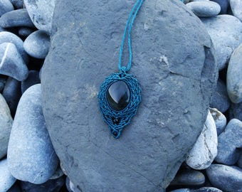 Turquoise blue pendant with rainbow obsidian