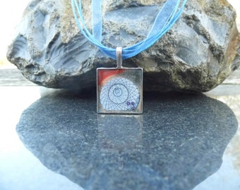mathematical pendant, resin jewelry, steam punk jewellery, blue and red necklace, blue ribbon, inch square pendant, teen gift, gift wrapped