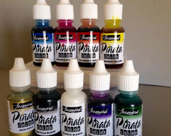 Jacquard Pinata Alcohol Ink set, exciter 9 pack contains 9 alcohol based high vibrancy transparent colors. Perfect for polymer clay & more
