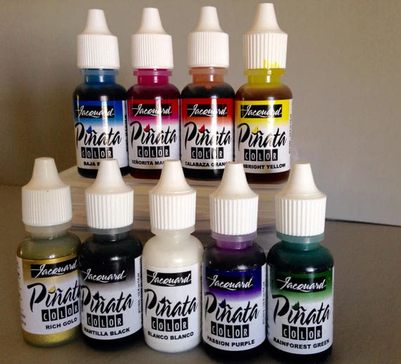 Jacquard Piñata Alcohol Ink set, exciter 9 pack contains 9 alcohol based high vibrancy transparent colors. Perfect for polymer clay & more