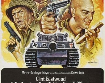 Kelly's heroes 1970 Clint Eastwood movie poster reprint 19x12.5 inches #2