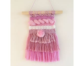IISALEII Pink Pom Pom Woven Wall Hanging
