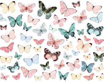 Butterflies Digital Collage Sheet - Pink Light Blue Butterflies - Scrapbooking Paper - Scrapbook - Blossom Paper Art - 1910