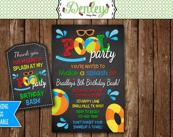 Pool Party Birthday Invitation, Pool Party, Pool Invite (PO02)