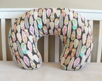 Feather Boppy Cover - Nursing Pillow Cover in Pink, Coral, Mint, and Metallic Gold for Baby Girl