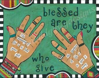 blessed home decor, hand art, inspirational art, blessed are they, gift for her, gift for she, hand art gift, spiritual art, gifts under 25