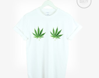 WEED BOOBS t-shirt shirt tee unisex mens women tumblr pinterest instagram sativa marijuana swag dope funny weed gift 100% cotton  *brand new
