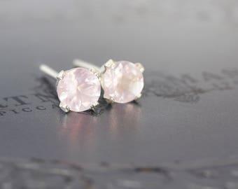Rose Quartz Earrings - Silver Earrings - Rose Quartz Jewelry - Pink Gemstone Earrings - Rose Quartz Studs - Earrings For Women
