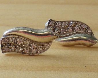 Vintage Sterling Silver Clear CZ Leaf Style Earrings Pierced Ears