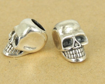 Sterling Silver Skull Charm Bead 925 Stamp Vintage WSP421  Wholesale: See Discount Coupons in Item Details
