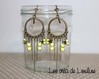 Yellow bronze hoop earrings