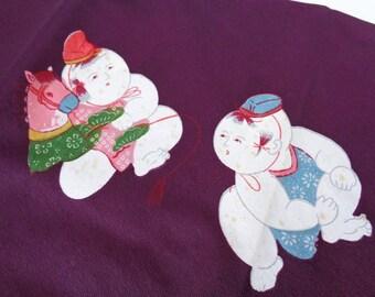 VJ379 : Furoshiki cloth,Japanese vintage Furoshiki gift wrapping cloth, Nylon furoshiki cloth,made in Japan