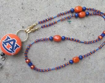 Auburn ID Badge Beaded Lanyard Orange and Blue War Eagle ID Badge Holder