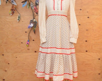Vintage 70's Gunne Sax Style Creamy Red Cotton Calico Floral Dress SZ S/M