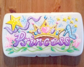 Personalized Baby Wipes Travel Case - Princess - Handpainted
