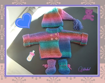 Baby girl pixie, jacket, Pixie hat and slippers, wool plassard